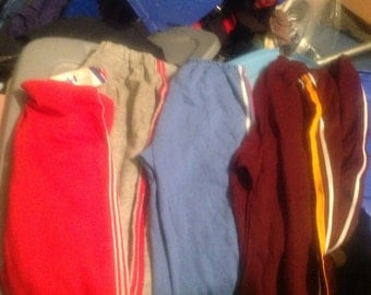 15 pair of 1970's and 80's vintage  and used track pants rapper athletic striped goes with t shirts jeans sneakers