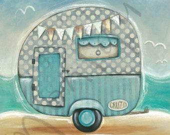 Retro Beach Caravan art print, Instant Download