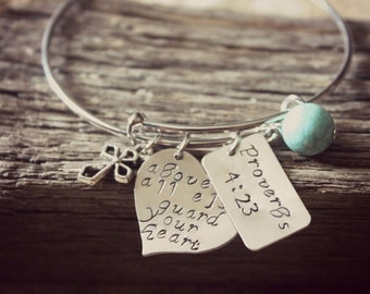 Proverbs 4:23 Bangle, Above All Else Guard Your Heart Hand Stamped Bracelet, Christian Bangle, Bible Verse Jewelry