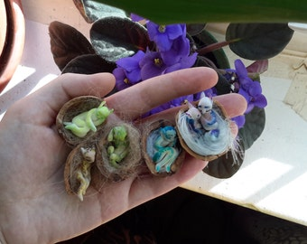 Tiny fairy nest - a sculpture in a nutshell, a fantasy miniature, polymer clay figurine, FIMO craft, Cute little things, Kawaii
