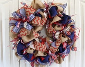 Large burlap Patriotic wreath.  Summer 4th of July Wreath.  USA Decor.  Rustic 4th of July.  Summer Burlap wreath. Red white and blue wreath