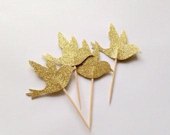 Bird Cupcake Toppers / Gold Glitter
