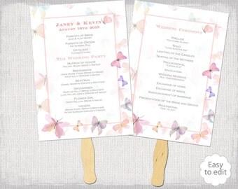 Wedding Fan Program Template Pastel Pink Butterfly DIY Order Of Ceremony