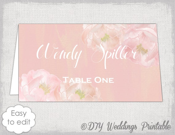 Place Card Template Peony Dream Pink Name By Diyweddingsprintable