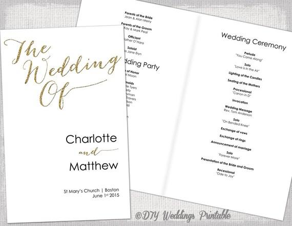 Wedding Program Template Calligraphy Gold Glitter Printable