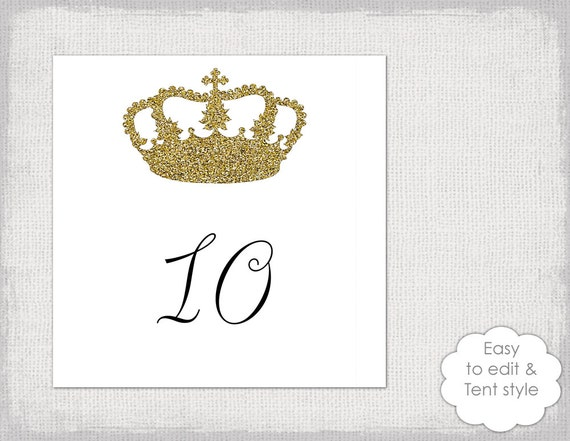 Table number template gold glitter  Crown  number card templates digital gold princess wedding numbers tent printable YOU edit Word download  sc 1 st  Etsy & Table number template gold glitter Crown number