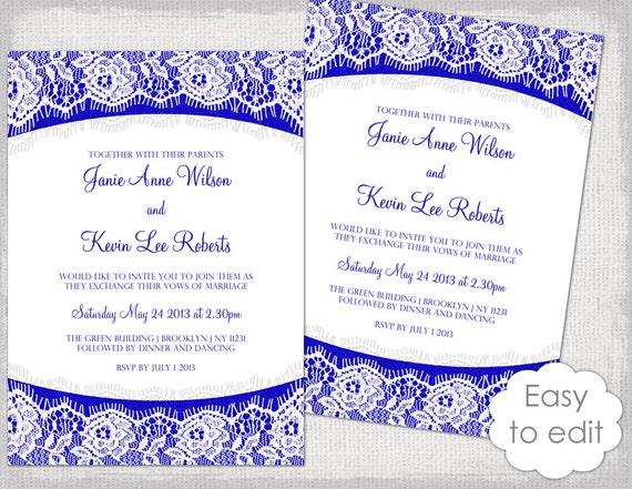 Lace Wedding invitation template Royal blue Linen &