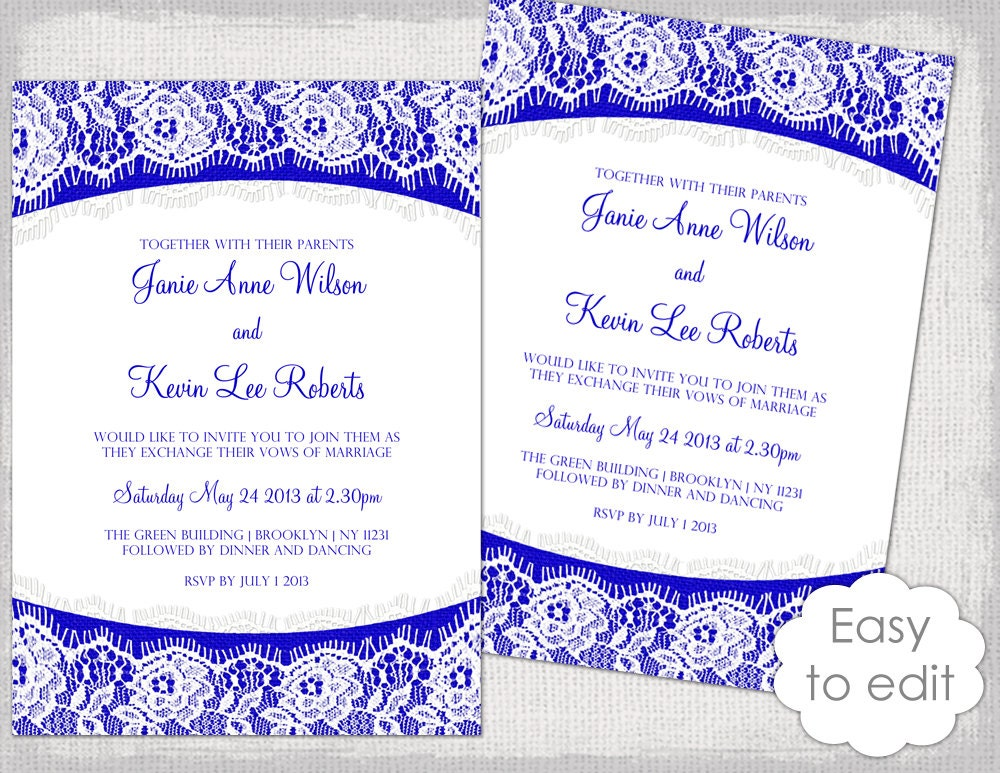 Template Invitation Wedding: Lace Wedding Invitation Template Royal Blue Linen