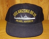 USS Arizona BB-39 Pearl Harbour United States Navy Battleship Vintage 80s Trucker Snapback Hat Naval Ship Northstar Brand Cap American Made