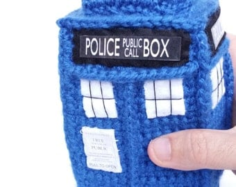 TARDIS WHO PLUSH 21cm inspired handmade tardis police box doctor who plushie crochet