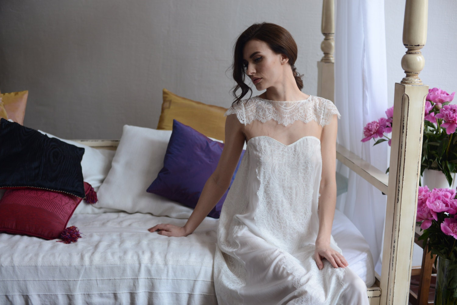 Silk Brides: Long Silk Bridal Nightgown With Lace F2 Bridal Lingerie
