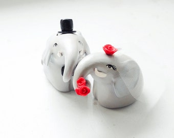 Wedding Cake Topper, Elephant Cake Topper, Love Elephants
