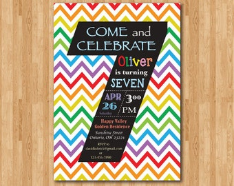 Rainbow 7th Birthday Invitation. Colorful Chevron Birthday Party Invite Chalkboard. Seventh Birthday Boy or Girl. Printable digital DIY.