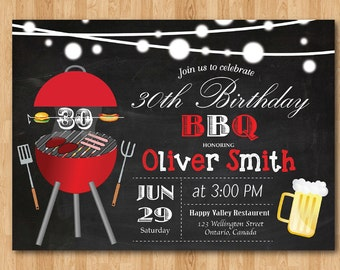 BBQ Birthday Invitation. Chalkboard Backyard. Beers Barbecue Birthday Invite. 30th 40th 50th 60th 70th 80th 90th any age. Printable Digital.