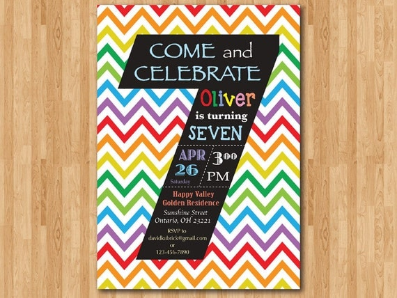 Rainbow 7th birthday invitation colorful chevron birthday like this item stopboris Gallery