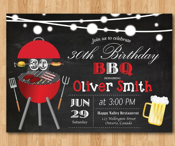 BBQ Birthday Invitation. Chalkboard Backyard. Beers Barbecue