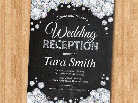 Invitation Wording For Wedding Reception: Wedding Receiption Invitation. Reception Invite. Rhinestone
