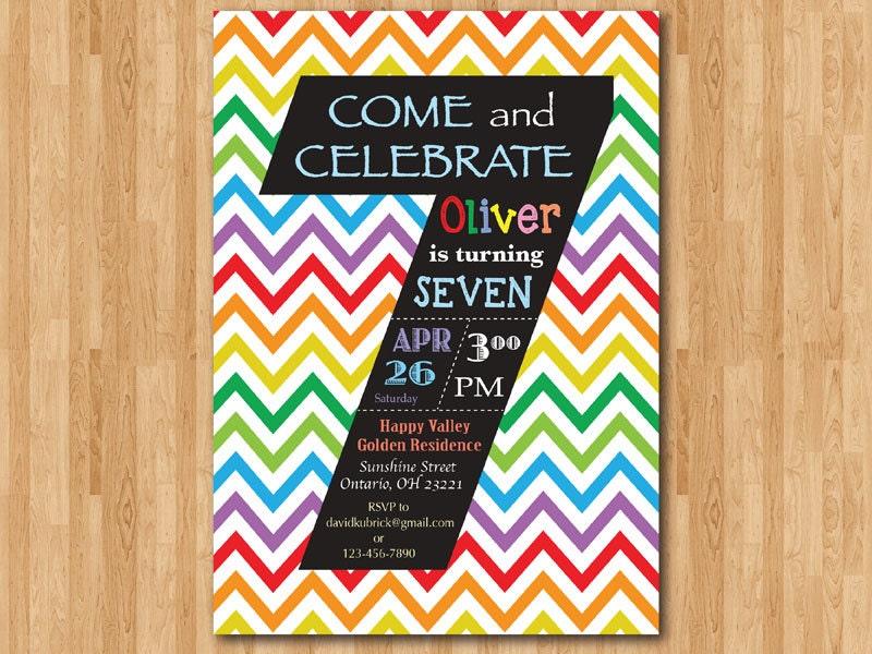 Rainbow 7th Birthday Invitation Colorful Chevron Birthday – 7th Birthday Party Invitation