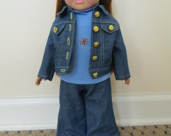 3 piece denim outfit for 18 inch dolls
