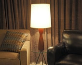 Danish Modern Turned Rosewood Table Lamp LARGE / Eames Era Minimalist Hourglass Shape / Made in Denmark