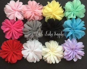 WHOLESALE 10 Chiffon Blossoms headband flowers fabric flowers bulk baby headbands, decor, diy, wedding, embellishment