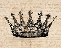 Vintage Crown Print Wall Artwork Home Decor Antique Artwork with Aged Script Paper Style Background No.2290 B9 8x8 8x10 11x14