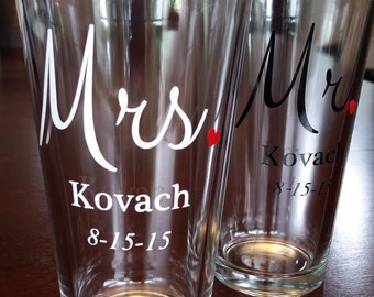 Mr. and Mrs. Pint Glasses