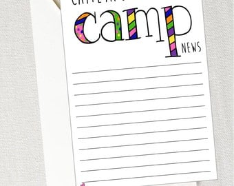 Camp Stationery with Envelopes, 20 Quantity / Thank You Note / Camping Party / Kids Stationery