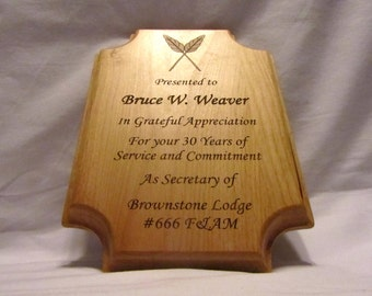 Custom Engraved Wooden Rectangle Corporate Award - 7x10
