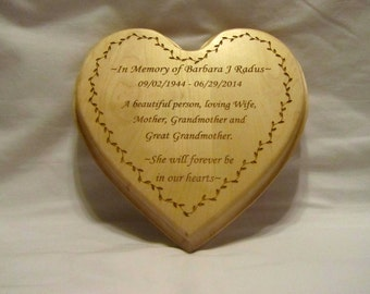 Personalized Memorial Heart Plaque With Custom Engraving