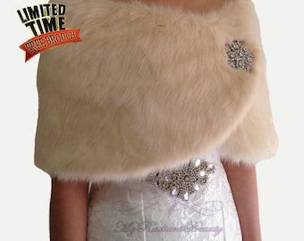 Faux Fur Wrap, Champagne Shawl, Bridal Fur Shawl, Faux Fur Stole, Wedding Fur Shrug, Wedding Fur Stole, Bridal Fur Wrap, MRBBridal FW108-CPN
