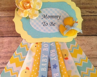 Rubber Ducky Theme Mommy To Be Corsage Blue & Yellow  Theme It's a Boy Baby Shower Corsage
