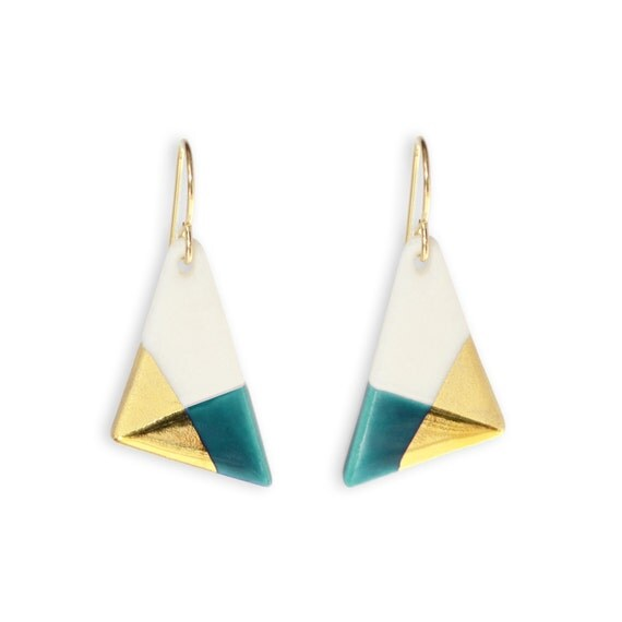 triangle dangle earrings teal and gold dipped earrings free. Black Bedroom Furniture Sets. Home Design Ideas