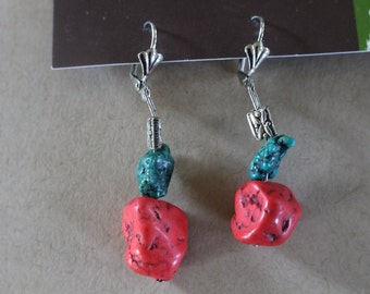 Red and green turquoise beaded earrings