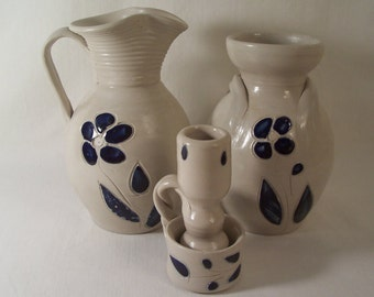Williamsburg Pottery Pitcher Vase Candlestick       S697