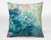 Decorative pillow with abstract art 14x20, 16x16, 18x18, 20x20 aqua blue throw pillow, accent pillow, Cool As a Cucumber
