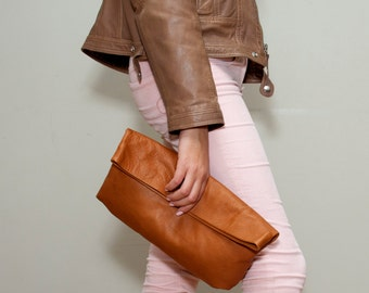 Sale!!! Brown Leather clutch, Foldover Clutch, evening bag