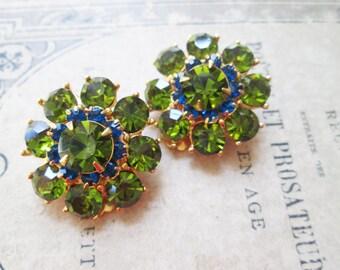 Olive Green Peridot Cobalt Sapphire Blue Rhinestone Earrings, Clip Ons
