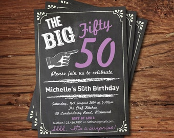 Surprise 50th birthday invitation. purple Chalkboard big 50 woman birthday invite. Surprise 60th 70th 80th 90th birthday invite AB004