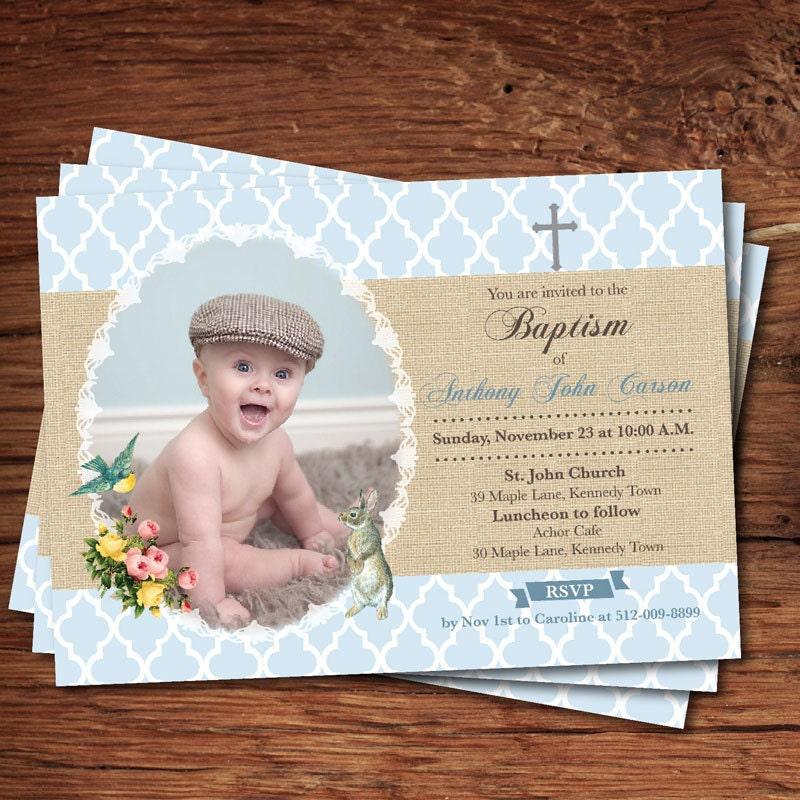 baby boy baptism invitation