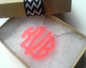"Small 1.5"" Kids Poppy Acrylic Monogram Necklace"