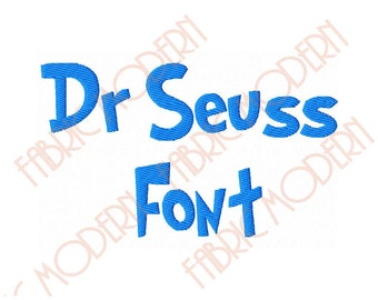 Dr SEUSS FONT Embroidery Font Design, two sizes, upper and lower case for each, BX, #403