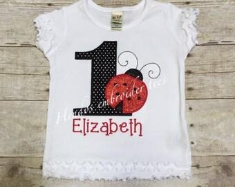 Lady bug 1st birthday-embroidered-birthday-shirt