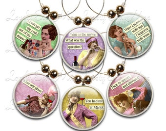 Retro, Wine Glass Charms, Wine Charms, Set of 6, Humorous, Wine Gifts, Funny Wine Charms, Sassy Women, Wine Accessories