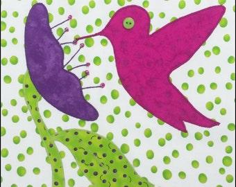 Sweet Nectar Hummingbird Applique Quilt Block Pattern - INSTANT DOWNLOAD
