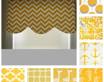 Window valance,  scalloped window valance, window curtain, yellow valance, lined valance, custom valance