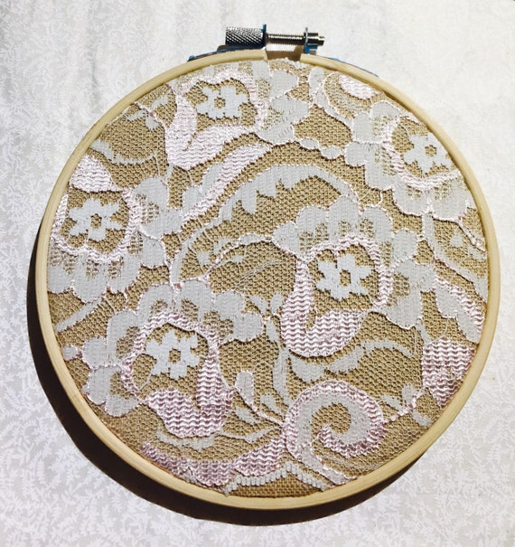 Lace embroidery hoop by poizenmonkey on etsy