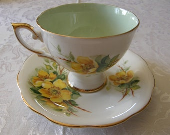 Yellow Wild Rose and Light Green Royal Standard Tea Cup and Saucer Set