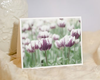 Nature Photo Note Card - Purple Tulips - Birthday Wishes - Floral Greeting - Handmade Card - Picture of Flowers - Blank or Personalised Card