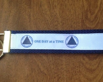 One Day At  Time key chain zipper pull wristlet